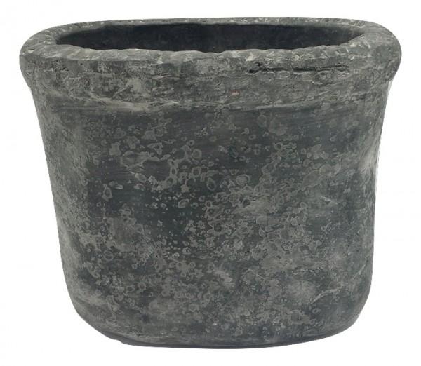 Cement Badia Pot Oval Black Wash L21W15H18