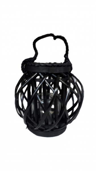 Willow Lantern with Handle Round Black D21 H22