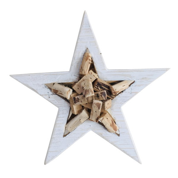 WOODEN STAR NATURAL/WHITE L30H7