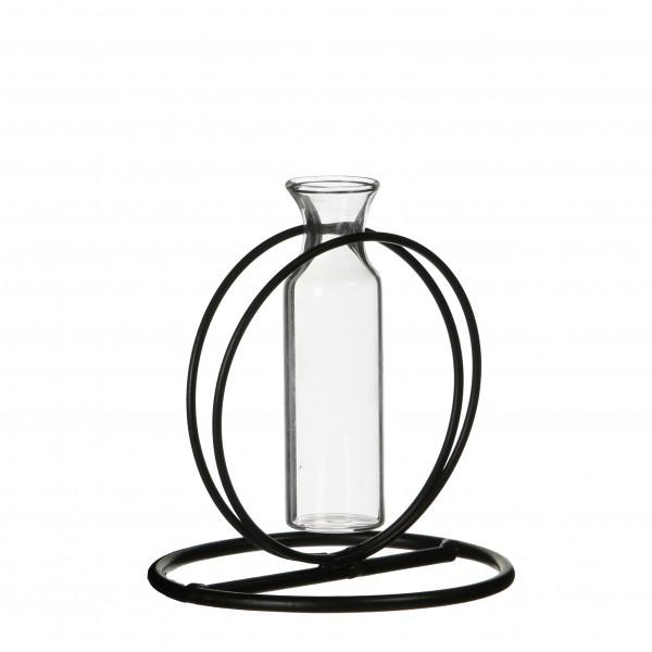 Vase In Metall Rund Regal H10