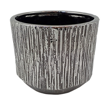 Ceramic Pot Nervi Round Silver D16H13