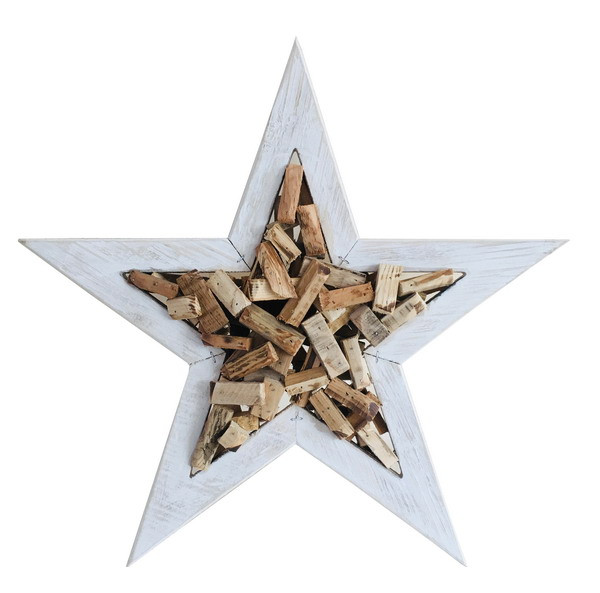 WOODEN STAR NATURAL/WHITE L50H8