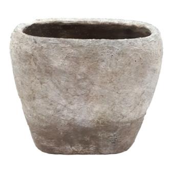 Cement Vaas Peccioli Ovaal Wit/Grijs L23,5W13,5H21