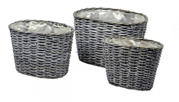 Basket High Oval Antracite 36X26X23 Set 3