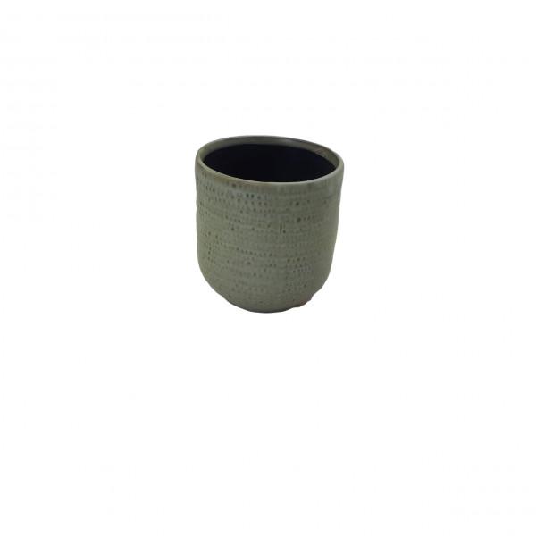 Ceramic Pot Alezio Round Rustique Pistache D10H11