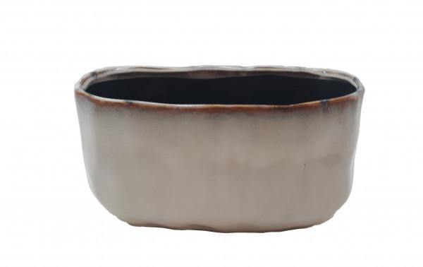 Ceramic Planter Lesina Oval Ant.White L20W11,5H11,5