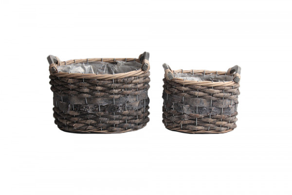 Banana Leaf And Birch Bark Basket W/Wd Handles Rectangle Grey L25W17.5H18.5 S2