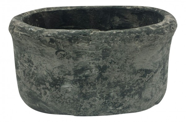 Cement Badia Planter Oval Black Wash L25W16H14