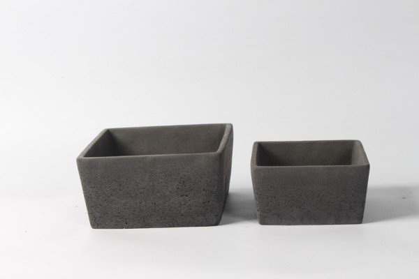 Cement Planter Rovigo Square Black L18W18H9,5 S2