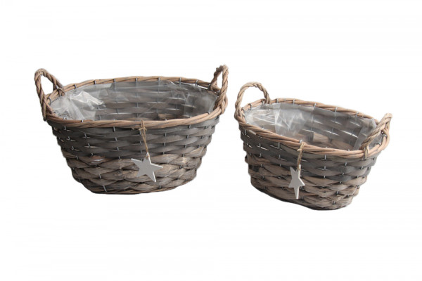 Woodchip And Grass Basket W/Handles,White Star Oval Grey L30.5W18H20 S2