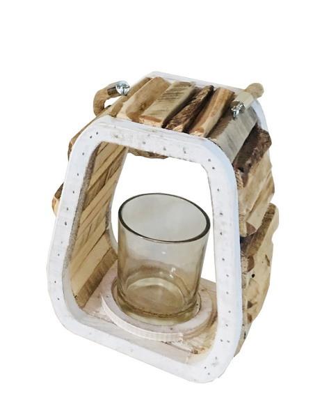 WOODEN LANTERN W/HAN W/GLASS NATURAL/WHITE L15W11H20