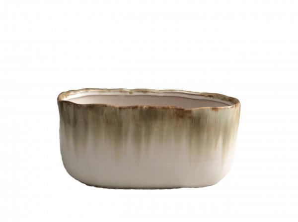 Ceramic Planter Monopoli Oval Brown/White L25W12,5H11,5