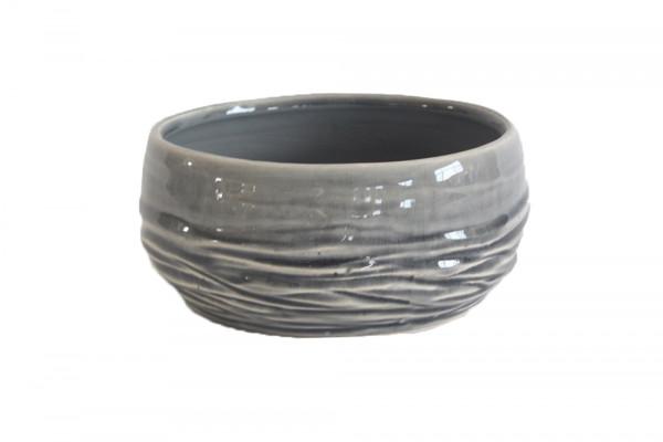 Ceramic Planter Breno Round Grey/White D16H7