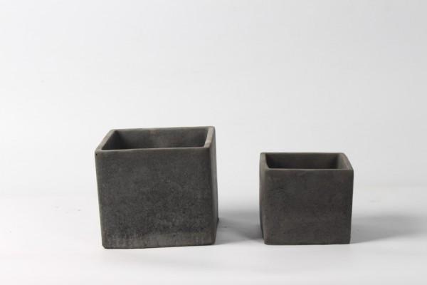 Zement Pflanzer Rovigo Viereck Schwarz L13,5W13,5H12 S2