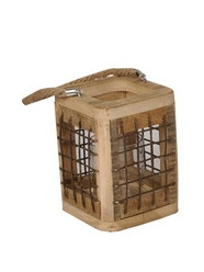 Wooden Lantern With Rope Handle Square L12W12H16
