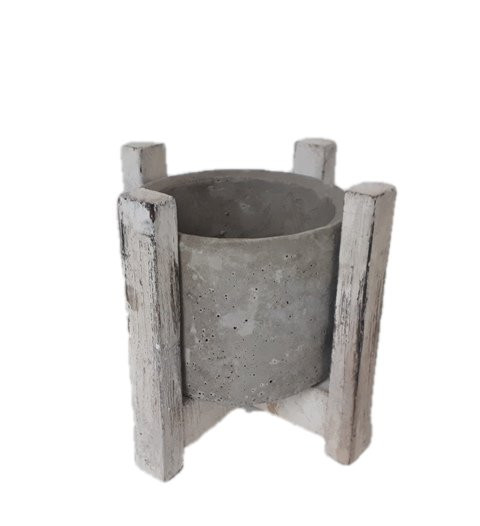Cement Pot Wooden Frame Round.D18H15