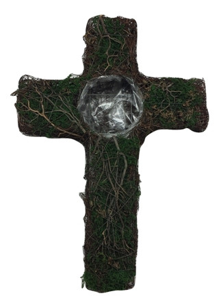 Salim Cross With Moss,Tree Branch With Washed L30W40H8 Piece