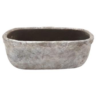 Zement Vase Montieri Oval Antik Grau L29W16H17,5