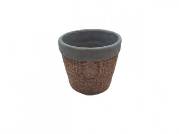 Cement Pot Round Cembra Grey/Rope D14H12,5