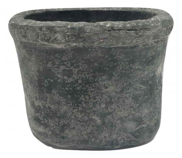 Cement Badia Pot Ovaal Zwart Wash L25W18H22