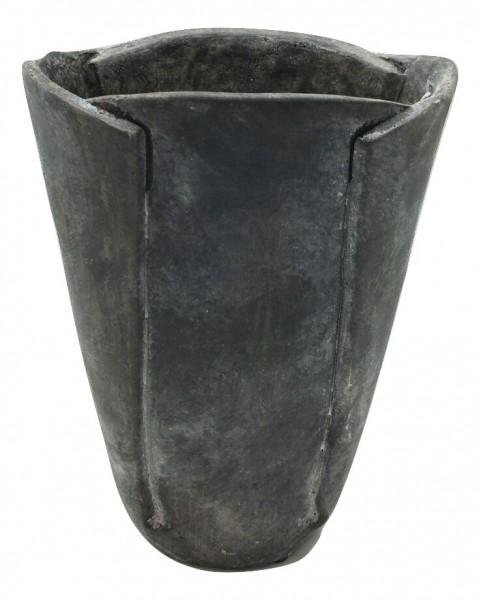 Cem.Vase Ivrea Oval Dark Grey Antique L17W13H22