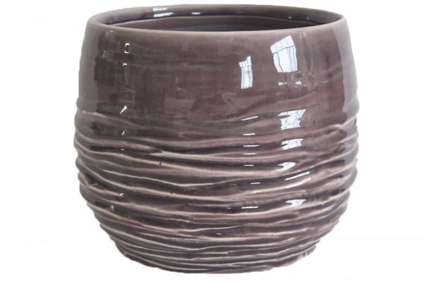Ceramic Vase Breno Round Pink/White D18H16