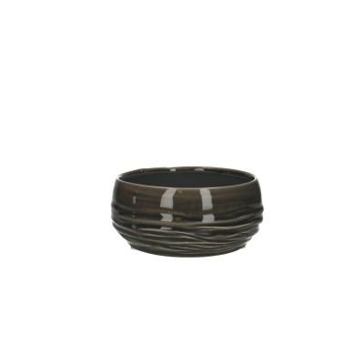 Ceramic Planter Breno Round Black/White D16H7