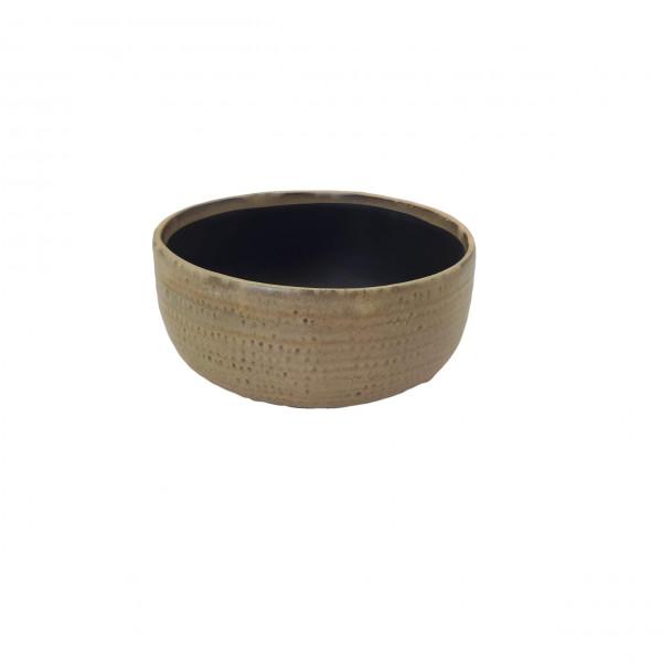 Ceramic Planter Alezio Round Rustique Ochre D20H9