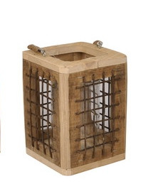 Wooden Lantern With Rope Handle Square L15W15H21