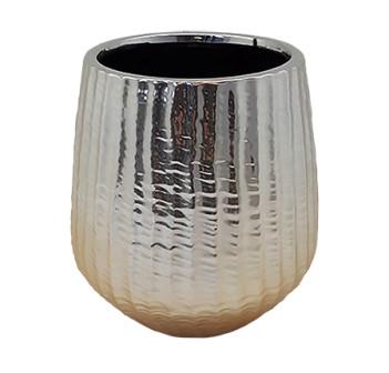 Keramik Vase Vicenza Rund Champagne D13,5H14,5