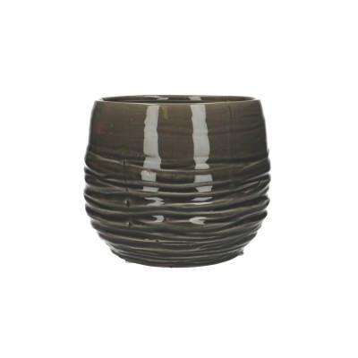 Ceramic Vase Breno Round Black/White D18H16