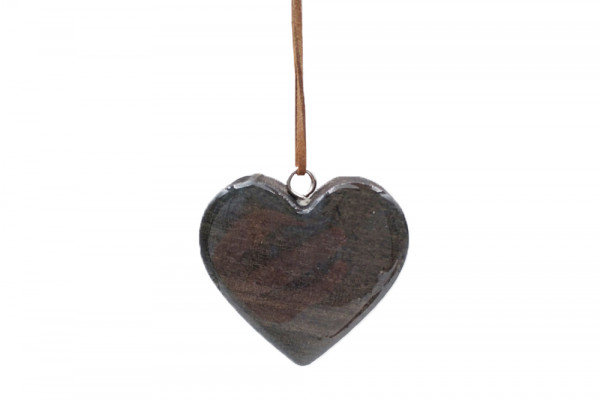 Wooden Hanger Heart Black L7W7H2