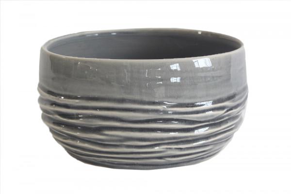 Ceramic Planter Breno Round Grey/White D20H11