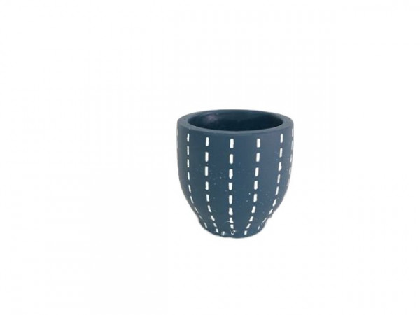Cement Pot Perloz Round Blue D13,5H16