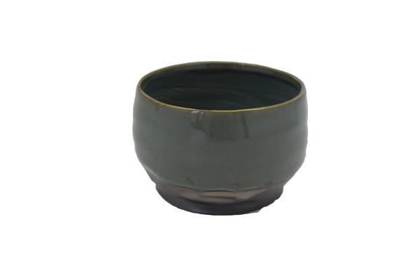 Ceramic Planter Dolo Round Blue/Brown D16.5H11