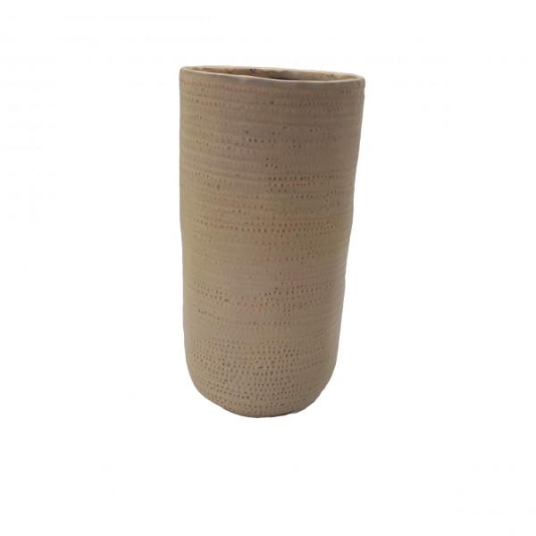Ceramic Vase Alezio Round Rustique Ochre D14H29