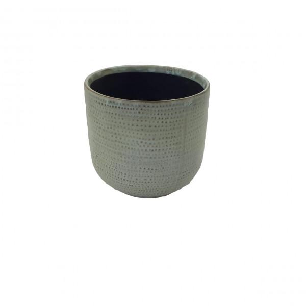 Ceramic Pot Alezio Round Rustique Pistache D16H15